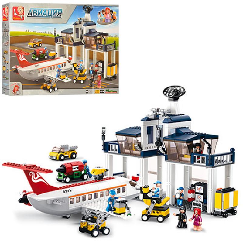 Конструктор из серии Город (Cities) Авиация - Аэропорт, самолет,фигурки, 810 деталей,SLUBAN M38-B0373