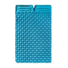 Подвійний надувний матрац з подушками Nature Hike ULTRALIGH TPU 185х115х5см. Вага 965гр, синій