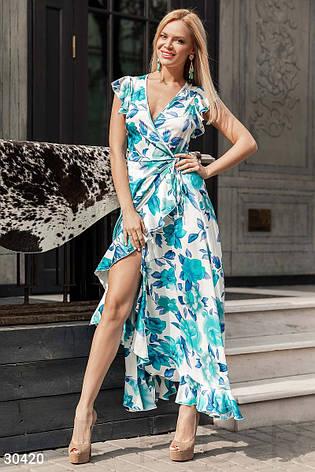 a23feea1b34 Длинное летнее платье рукава-крылышки асимметричная юбка с воланом  бело-голубое