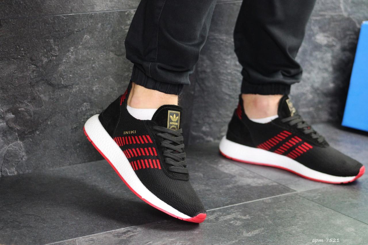 Кроссовки адидас иники черные красные текстильные спортивные (реплика) Adidas Inike Black Red