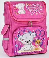 Ранец каркасный Мишка 1, 2, 3 класс для девочек. Рюкзак, портфель ортопедический школа. Розовый