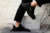 Кроссовки мужские Balenciaga Triple S в стиле Баленсиага Трипл С, замша, текстиль код KS-1719. Черные