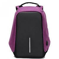 Рюкзак Antivor c защитой от карманников и с USB зарядным устройством Пурпурный Bobby