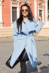 Демисезонное женское пальто с широким воротником под поясок 42-46