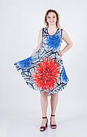 Легкий літній білий штапельний сарафан вільного крою з червоно-синім 3D квітковим принтом №12-1