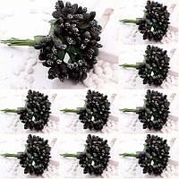 """(ОПТ,12 букетиков) Тычинки """"Незабудка"""" на проволоке с листиками (Цена за пачку) Цвет - Чёрный"""