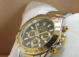 Механика Rolex Daytona ролекс механические часы мужские золото-серебро с черным циферблатом