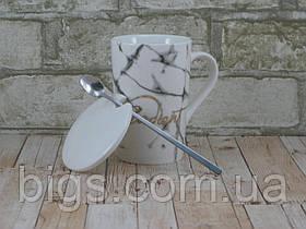 Кружка с крышкой и ложкой 375 мл Мрамор ( Чашка Мрамор )