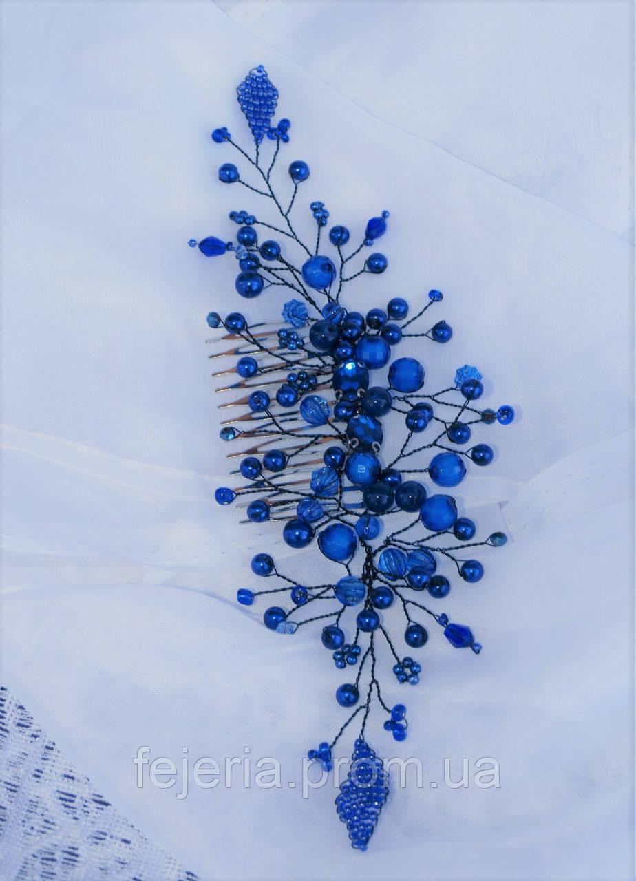 Гребень в волосы синий