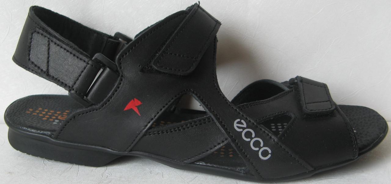 2e4a5d9a5 Ecco Black! Мужские сандалии на липучках! Натуральная кожа лето босоножки  Экко