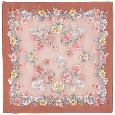 Утренний свет 880-1, павлопосадский платок (атлас) шелковый с подрубкой