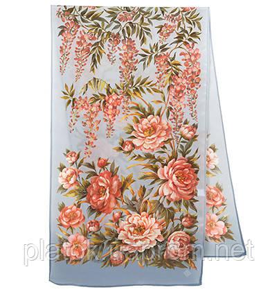 Райский сад 10039-1, павлопосадский шарф шелковый крепдешиновый с подрубкой