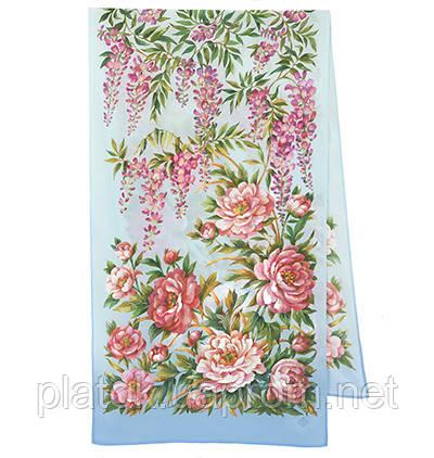 Райский сад 10039-13, павлопосадский шарф шелковый крепдешиновый с подрубкой