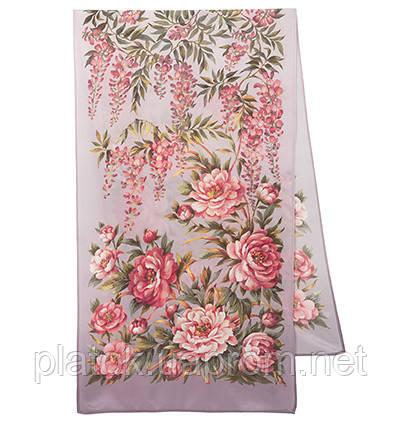 Райский сад 10039-2, павлопосадский шарф шелковый крепдешиновый с подрубкой