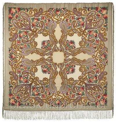 Час свидания 1570-2, павлопосадский платок шерстяной  с шелковой бахромой