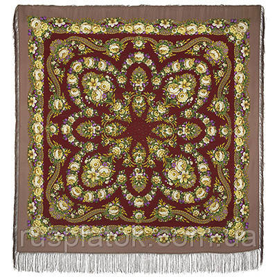 Молодушка 1511-16, павлопосадский платок шерстяной  с шелковой бахромой Стандартный сорт