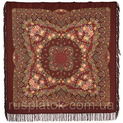 Славянские праздники 1536-17, павлопосадский платок шерстяной  с шерстяной бахромой