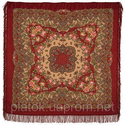 Славянские праздники 1536-6, павлопосадский платок шерстяной  с шерстяной бахромой