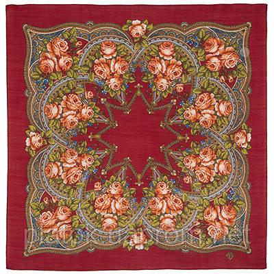 Цветочная корзиночка 1598-6, павлопосадский платок шерстяной  с осыпкой (оверлоком)