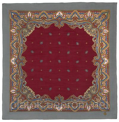 Шалфей 1151-2, павлопосадский платок шерстяной  с осыпкой (оверлоком)