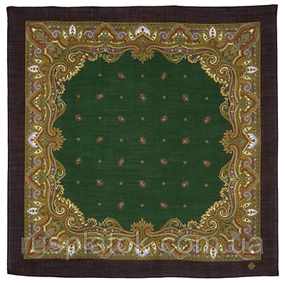 Шалфей 1151-17, павлопосадский платок шерстяной  с осыпкой (оверлоком)