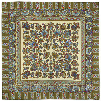 Солнечный лучик 1197-10, павлопосадский платок шерстяной  с осыпкой (оверлоком)