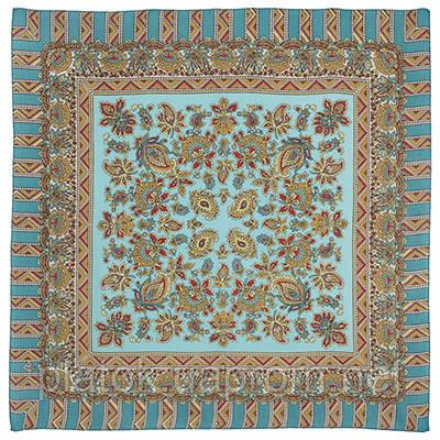 Солнечный лучик 1197-11, павлопосадский платок шерстяной  с осыпкой (оверлоком)