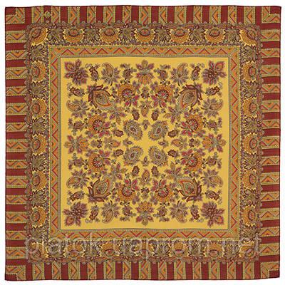 Солнечный лучик 1197-3, павлопосадский платок шерстяной  с осыпкой (оверлоком)