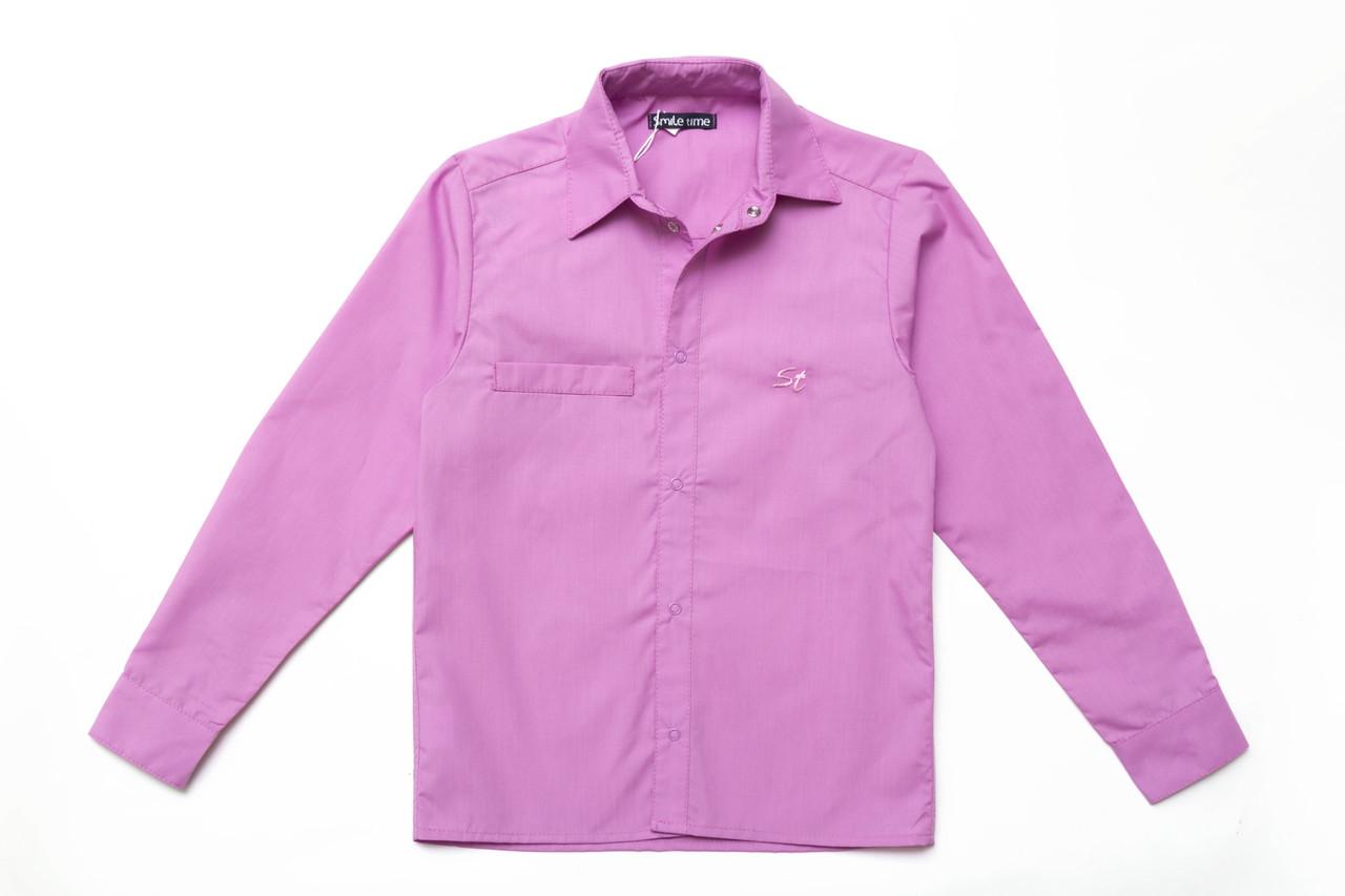 Сорочка для хлопчика на кнопках SmileTime з довгим рукавом, лілова