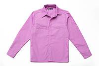 Рубашка для мальчика на кнопках р.122,128,134,140,146,158,164 SmileTime с длинным рукавом, лиловая
