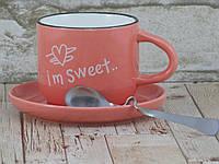 Чашка с блюдцем и ложкой 200 мл Бариста-эспресо ( кружка с блюдцем ) Розовый