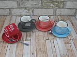 Чашка с блюдцем и ложкой 200 мл Бариста-эспресо ( кружка с блюдцем ) Голубой, фото 6