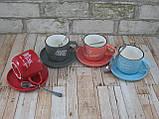 Чашка с блюдцем и ложкой 200 мл Бариста-эспресо ( кружка с блюдцем ) Голубой, фото 7