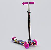 """Самокат А 24642 /779-1396 MAXI """"Best Scooter"""" 4 колеса PU. СВЕТ, d=12см Темно-синий"""