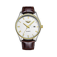 Часы Guanqin Gold-White-Brown GQ11006 CL