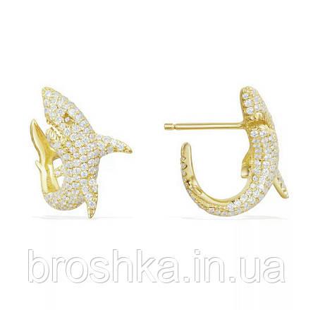Позолоченные серьги акула ювелирная бижутерия, фото 2