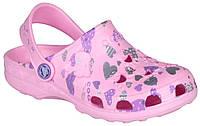 Клоги детские Little Frog, Coqui, розовые с сердцами (32-32), фото 1
