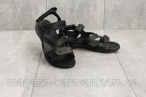 Женские кожаные босоножки черные без каблука