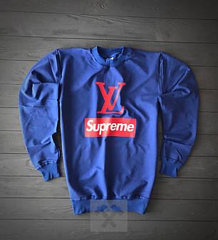 Свитшот синего цвета Supreme by Louis Vuitton топ-реплика, фото 2