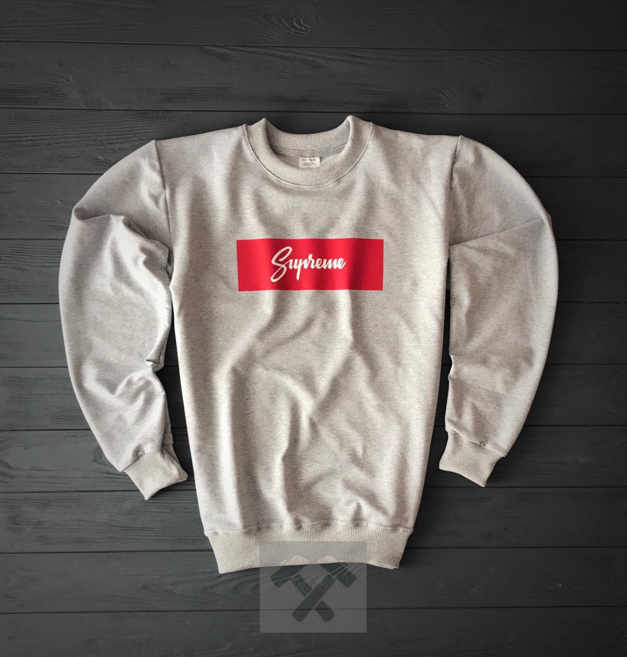 Світшот сірий Supreme з червоно-білим логотипом топ-репліка