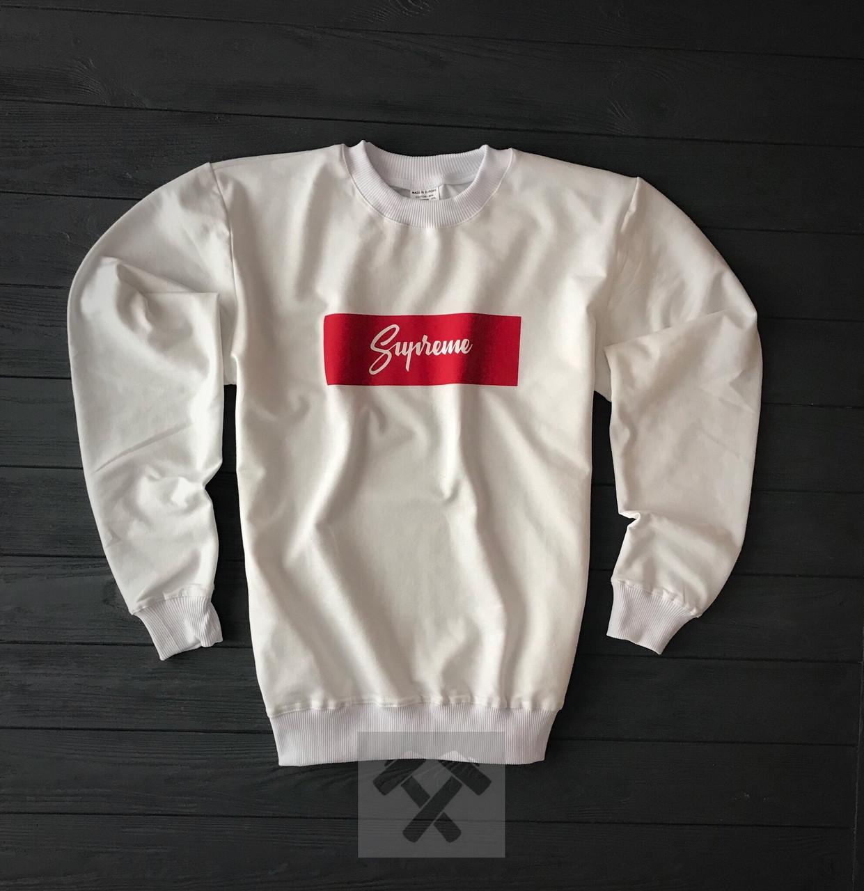 Світшот білий Supreme з червоно-білим логотипом топ-репліка