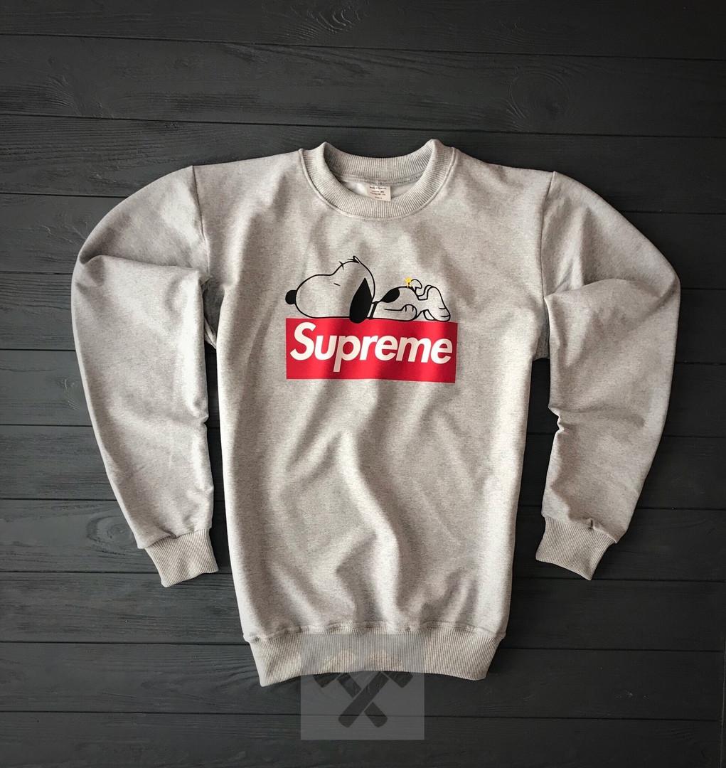 Світшот сірий Supreme з собакою топ-репліка