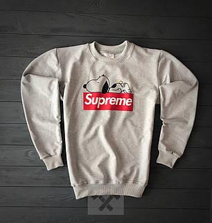 Світшот сірий Supreme з собакою топ-репліка, фото 2