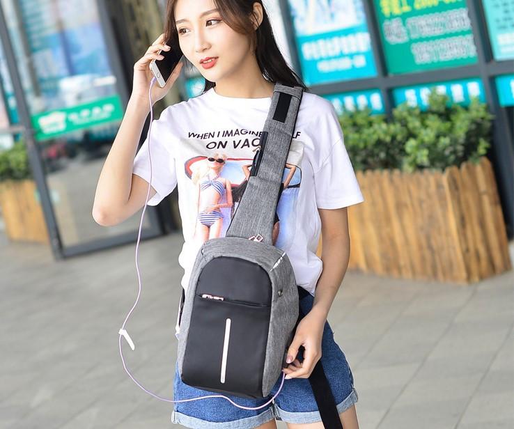 Женский рюкзачок через плечо с USB Kompact