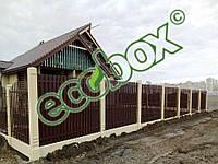 Забор штакетный металлический  МU-1700х2000/28 Паркан металевий оцинкований Євроштахет ЕСОВОХ© /