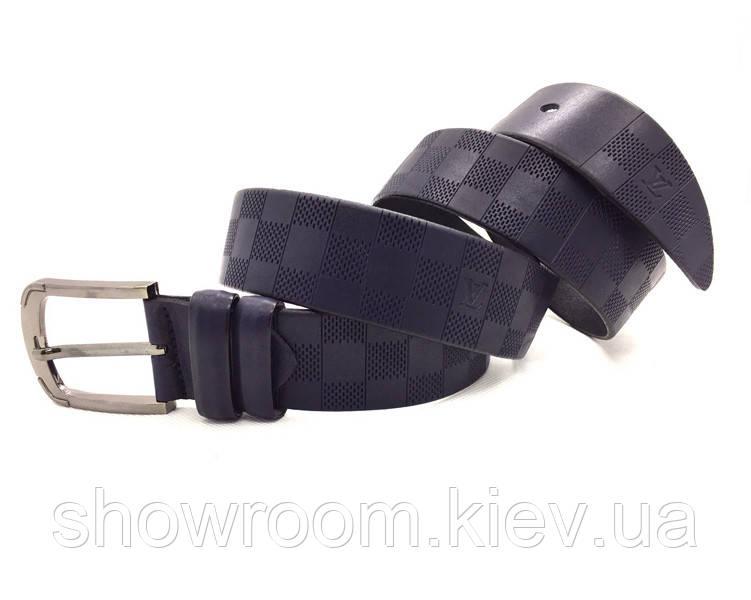 Мужской кожаный ремень LV (3001) синий, фото 1