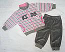 Костюм велюровый для девочки Lovely KİDS серый в полосочку (р. 74-104 см)(Nicol, Польша), фото 2