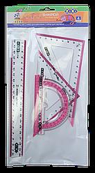 Комплект: Лінійка 20см, 2 косиньця, транспортир, з рожевою смужкою
