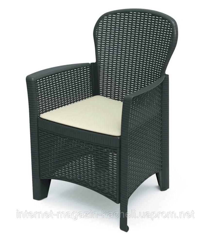 Кресло пластиковое Folia антрацит с подушкой