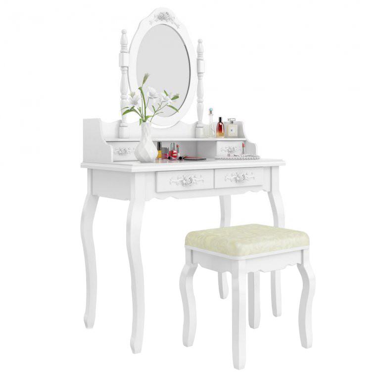 Туалетний столик Wooden Dresser C2 білий + табурет (3050)